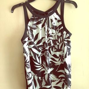 Express Sleeveless Black and White Palms Tank
